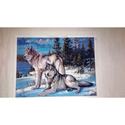 Clearance - Majestic Wolf Couple 5D Square Diamond Painting
