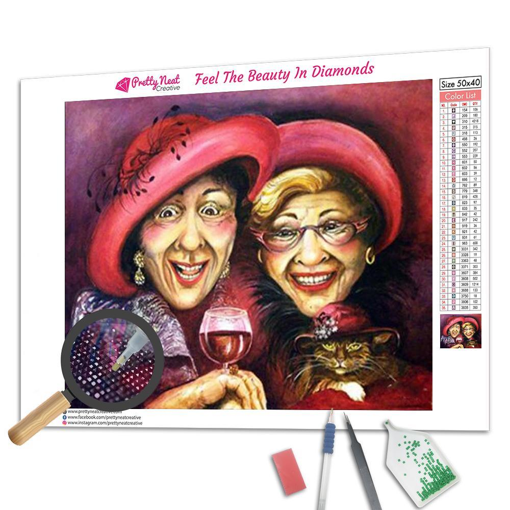 Clearance - Old Lady Drinking Wine Diamond Painting