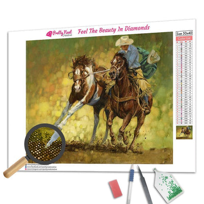 Cowboys Train Horse Square Diamond Painting