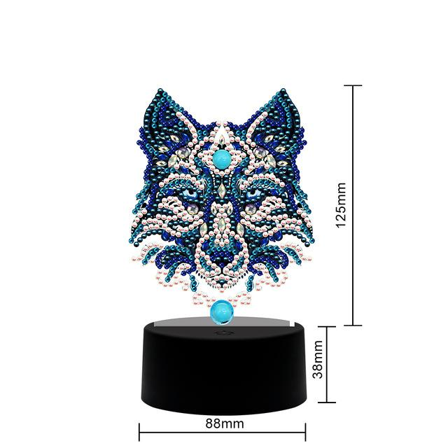 Crystal Wolf Table Lamp Diamond Painting Light DP  - Pretty Neat Creative