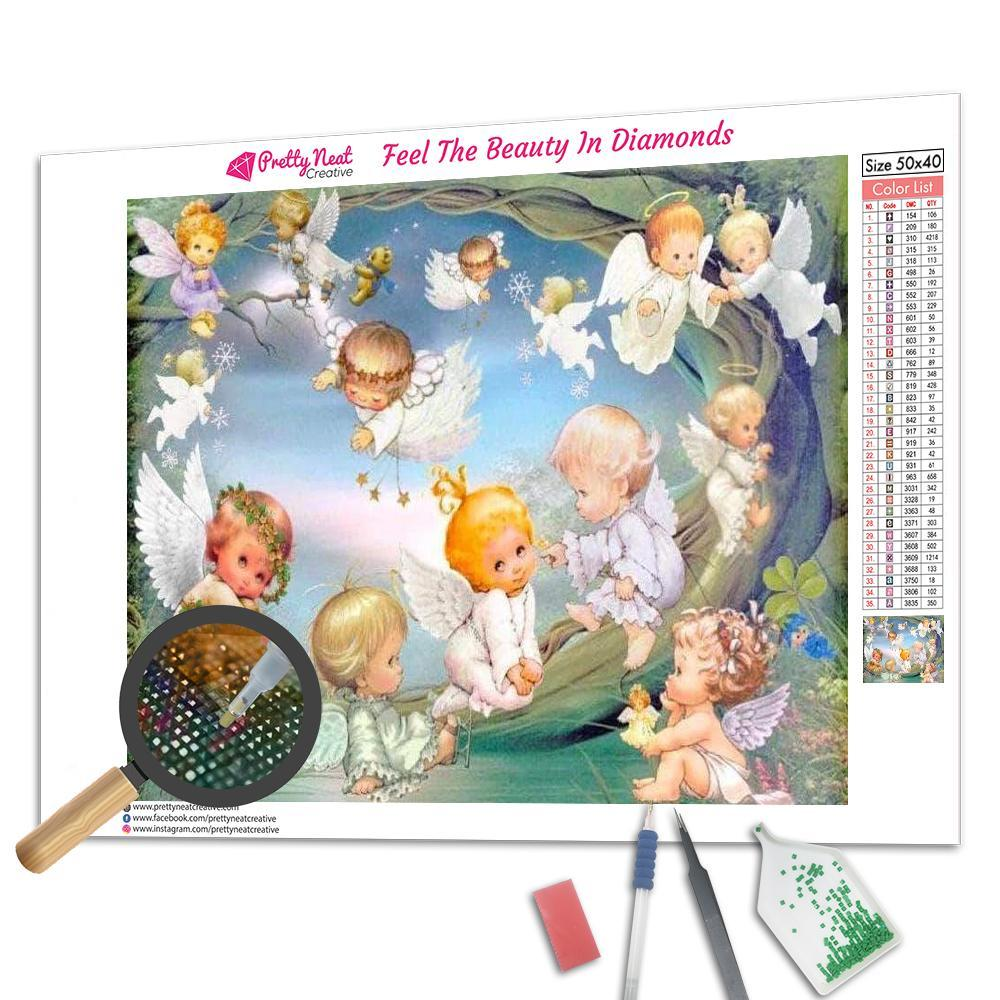Cute Baby Angel in Heaven Square Diamond Painting