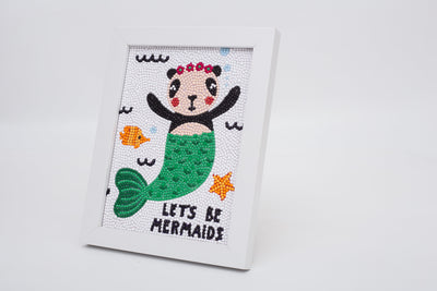 "Cute Panda Mermaid Diamond Painting With Frame 6"" x 8"" (15cm x 20cm) / Special Shaped"