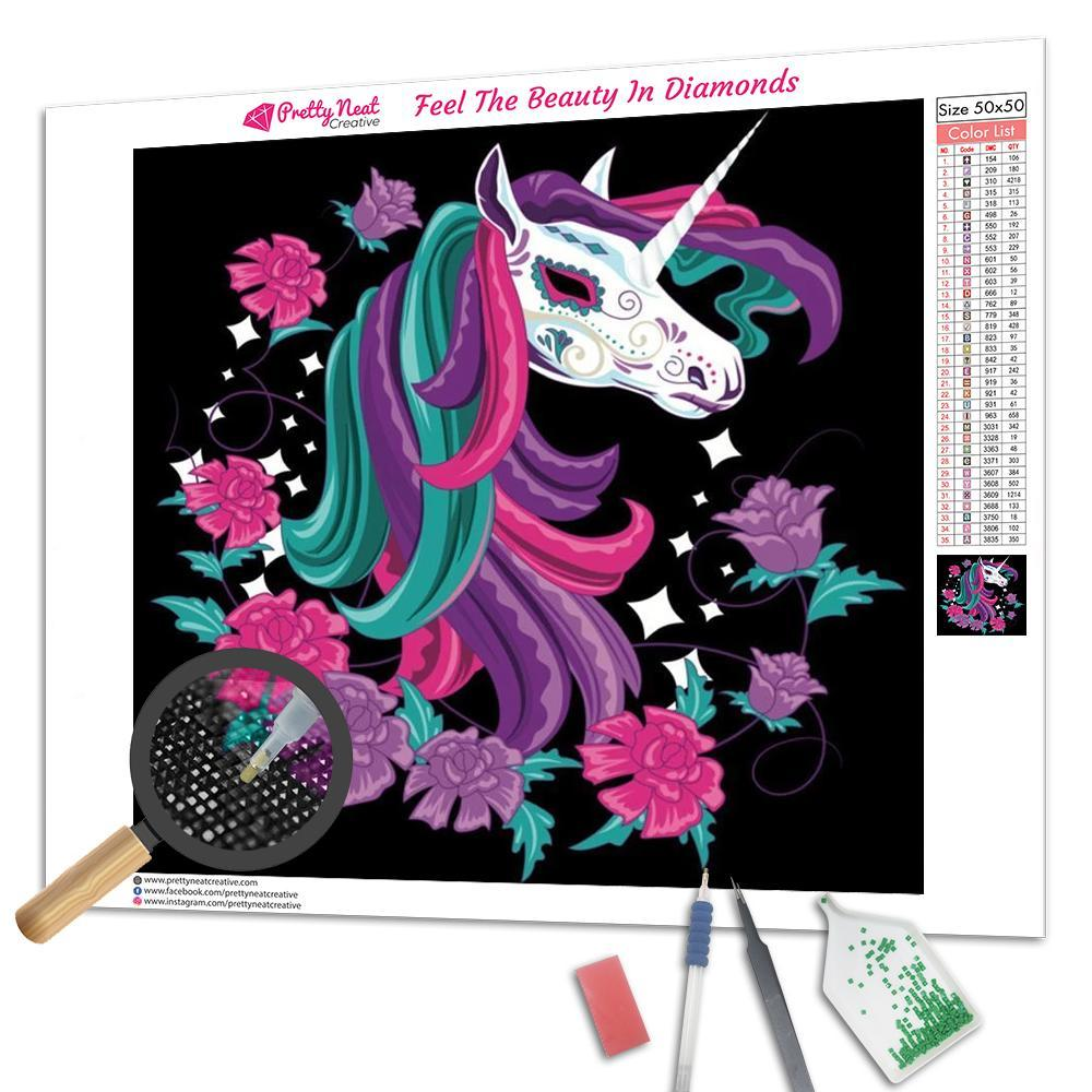Day Of The Dead Carnival Unicorn Square Diamond Painting