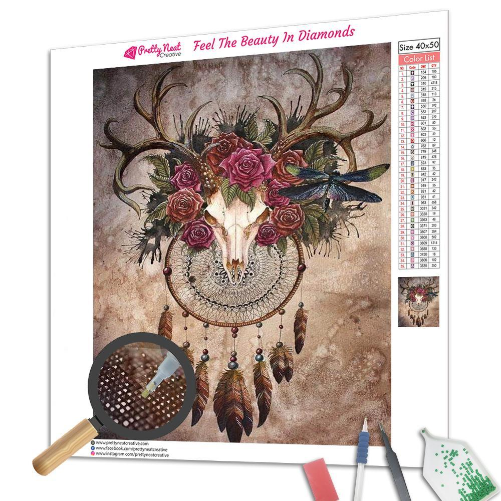 Deer & Red Roses Art  Diamond Painting