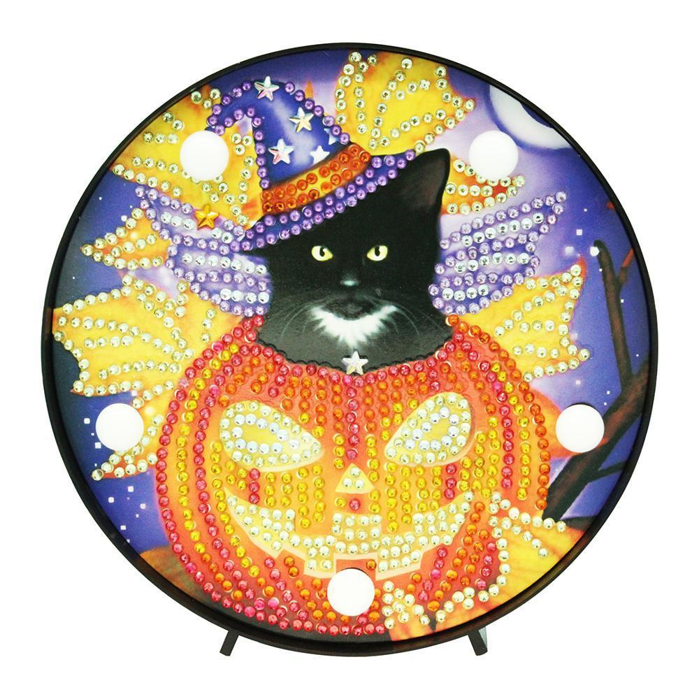 DIY Wizard Cat and Pumpkin Light Diamond Painting