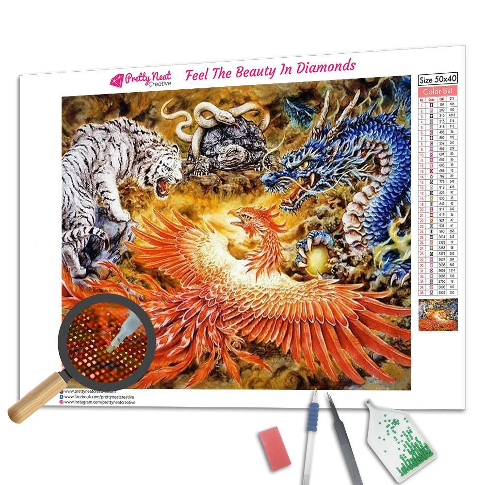 Dragon Phoenix Tiger Snake Turtle Square Diamond Painting