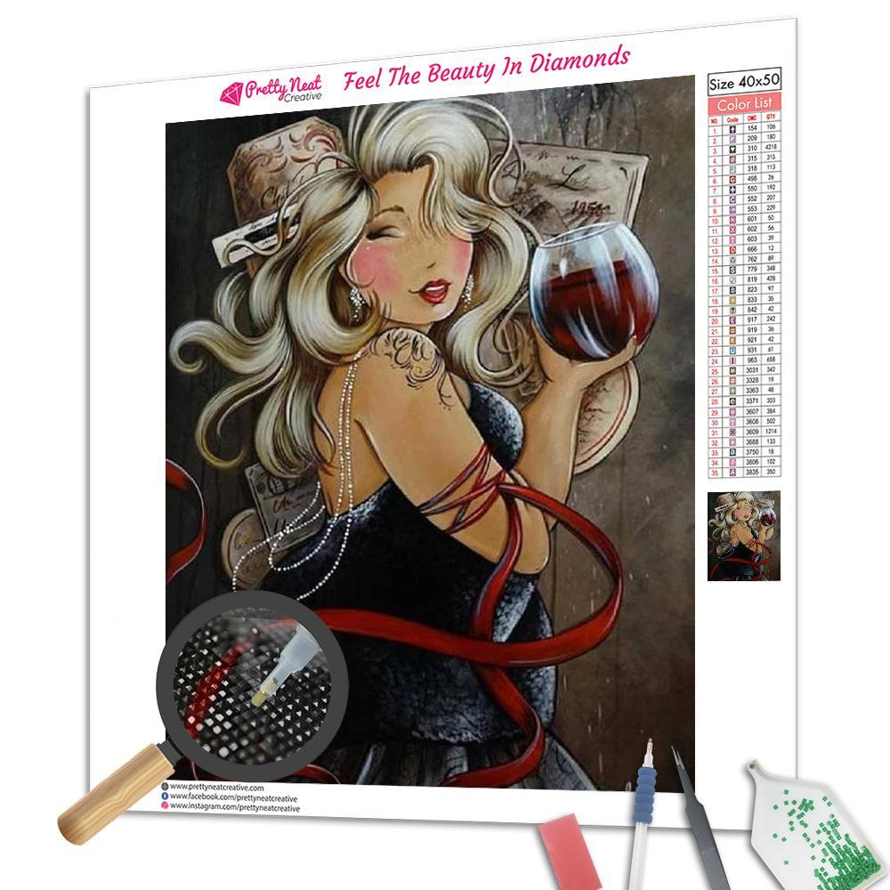 Fat Lady Drink Red Wine Square Diamond Painting