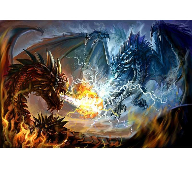 Fire Dragon vs Lightning Square Diamond Painting