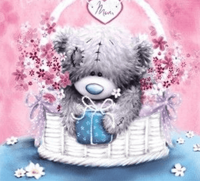 Flower Basket Teddy Square Diamond Painting