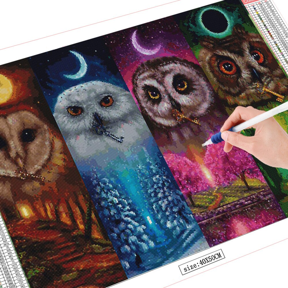 Four Seasons Owl Diamond Painting