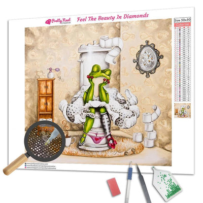 Frog on Toilet  Square Diamond Painting