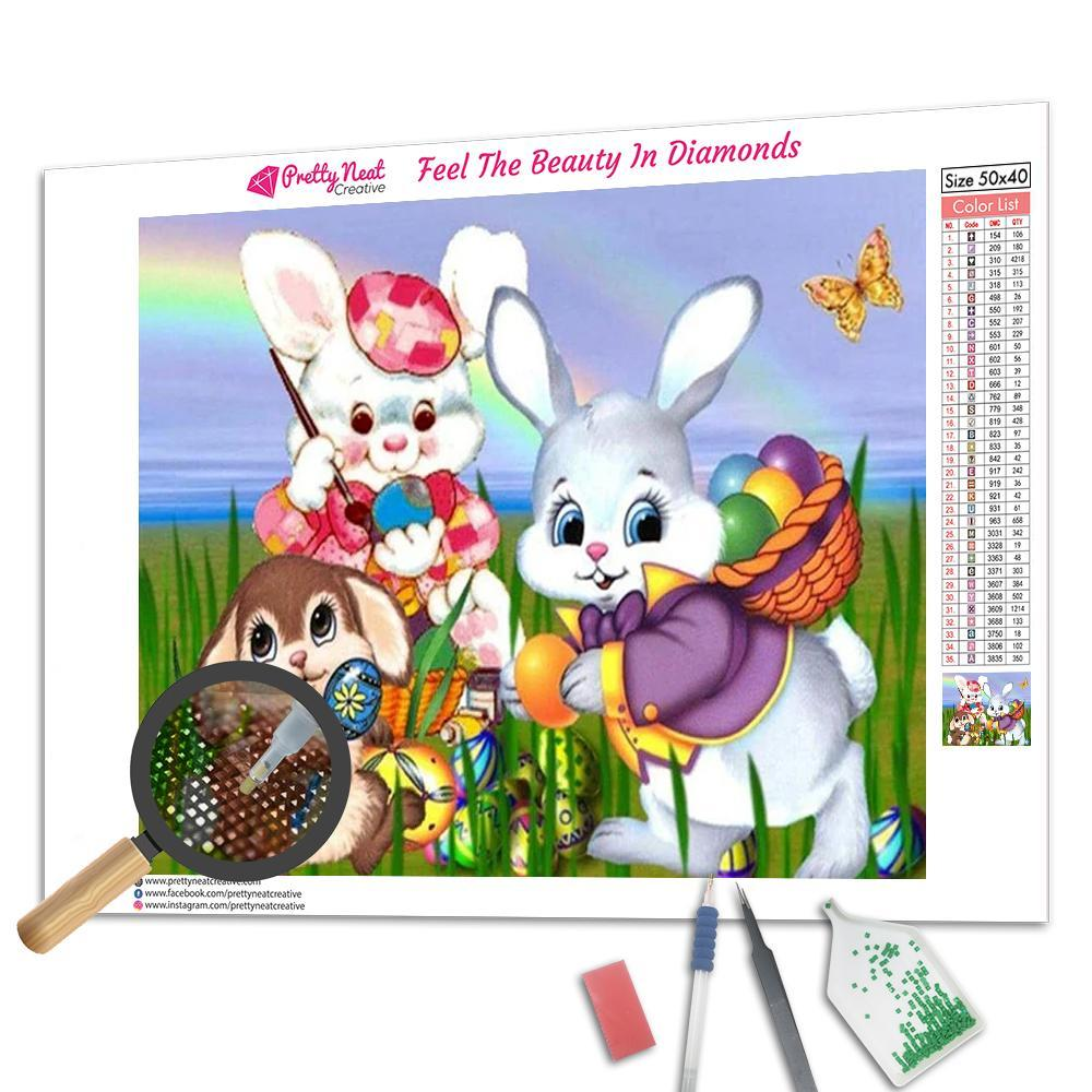 Funny Bunny In Garden  Diamond Painting