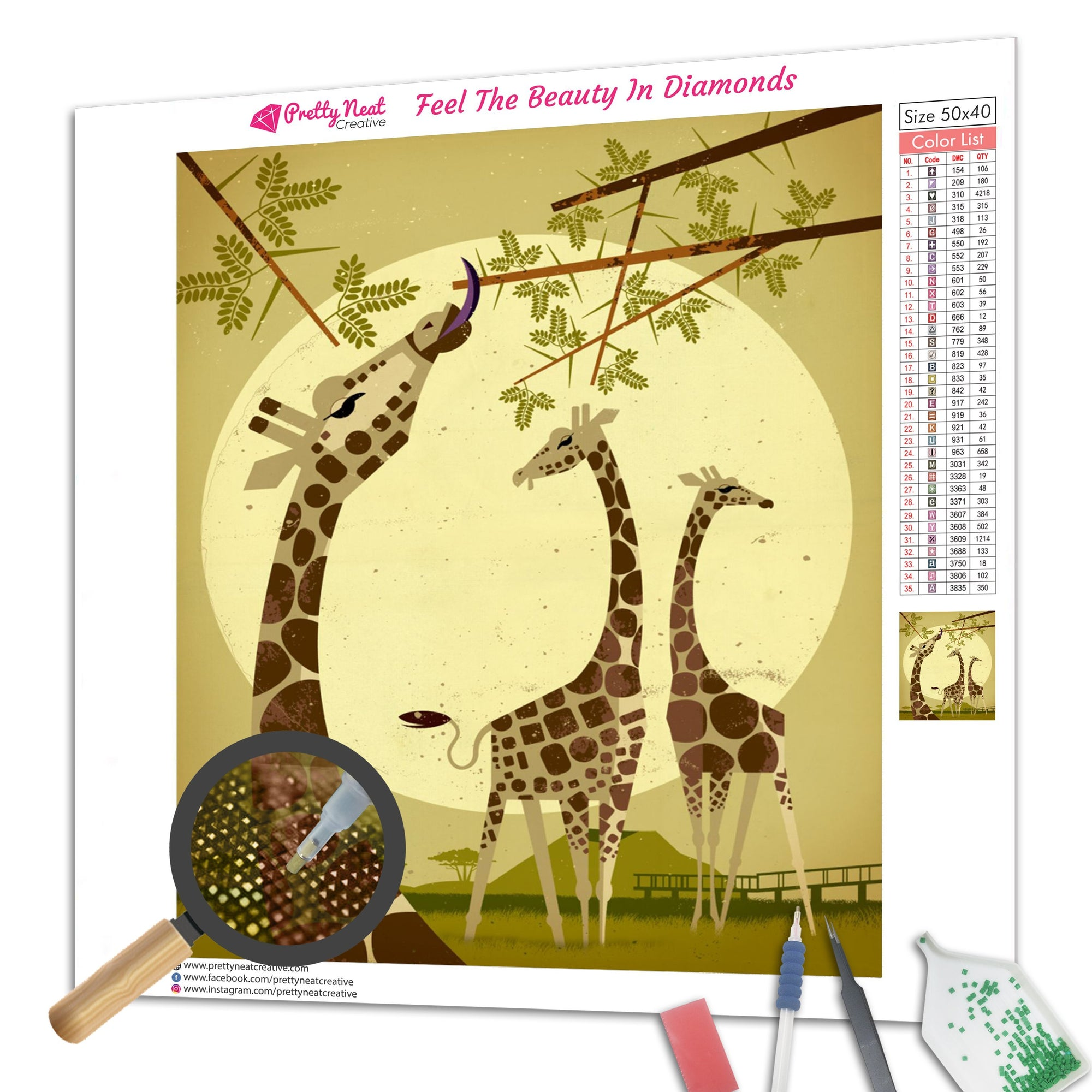 Giraffes In The Forrest Diamond Painting Diamond Painting  - Pretty Neat Creative