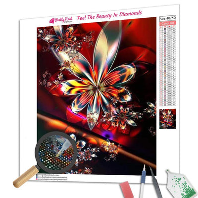 Golden Butterfly Flower Diamond Painting