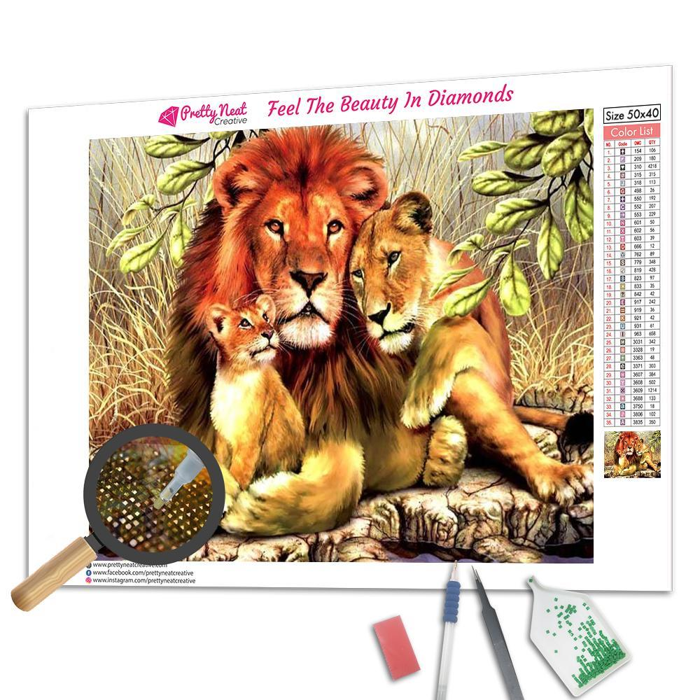 Happy Lion Family 5D Square Diamond Painting