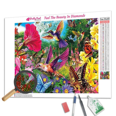 Hummingbirds And Butterflies Flutter Among A Garden Square Diamond Painting