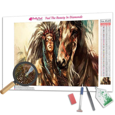 Indian Beauty & Horse Diamond Painting