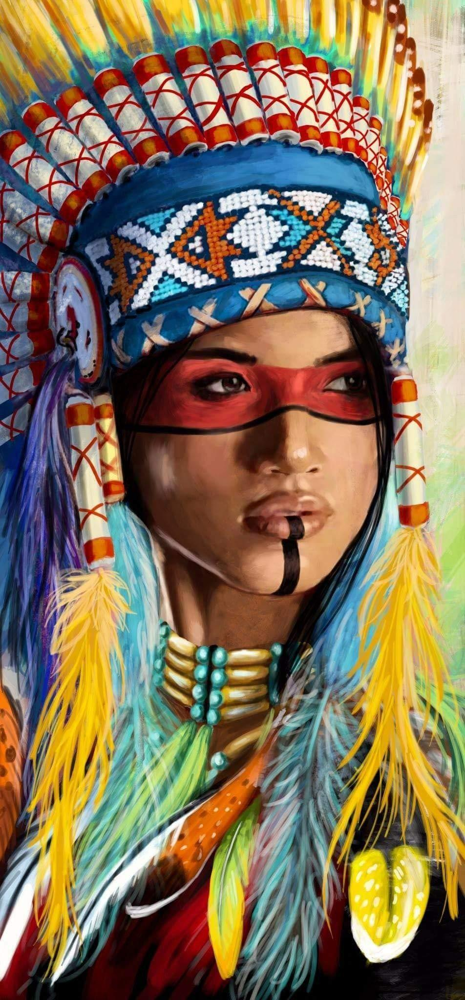 Indian Girl Chief Square Native American Diamond Painting