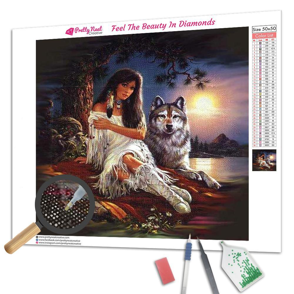 Indian Girl & Wolf 5D Square Diamond Painting