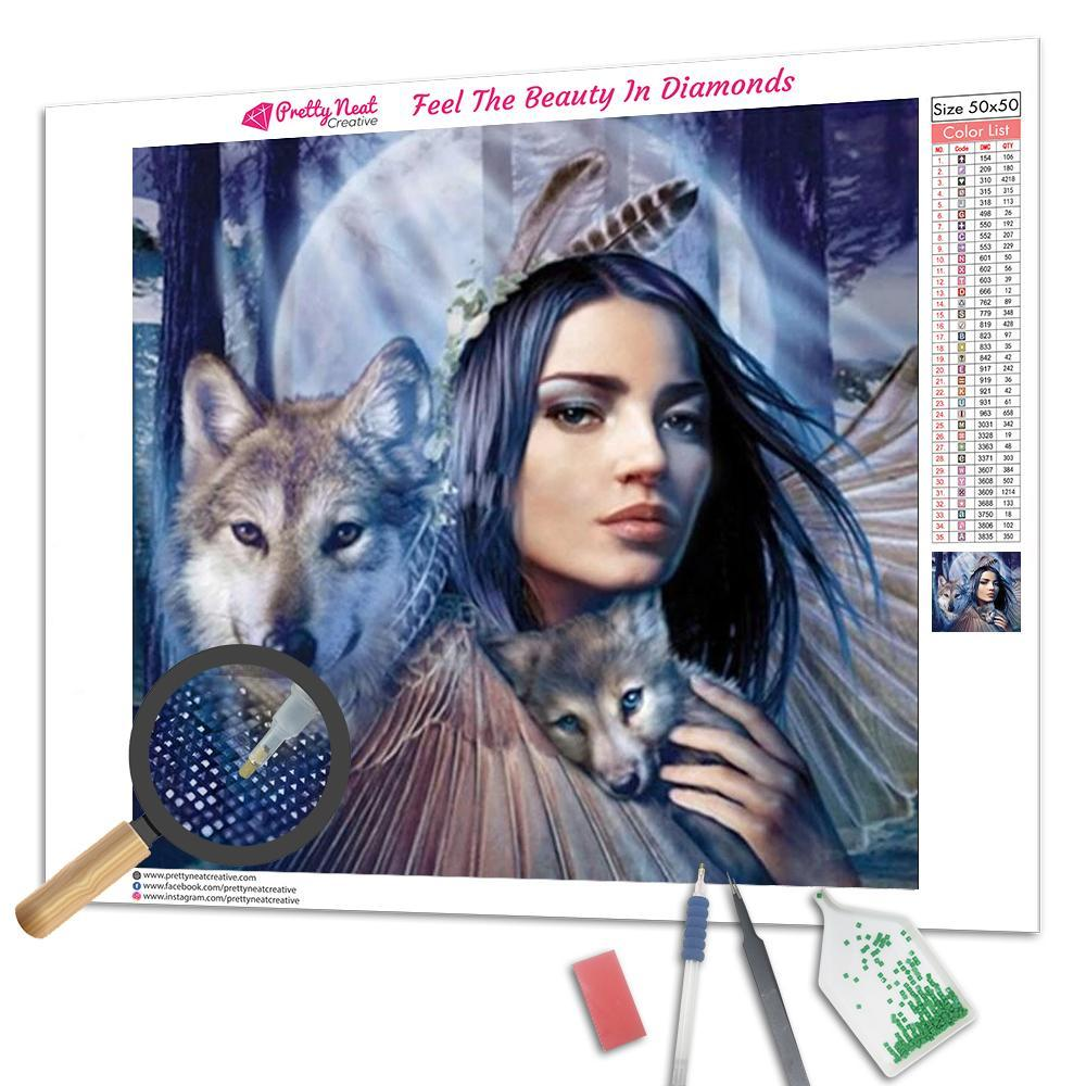 Indian Maiden and Wolf Square Diamond Painting