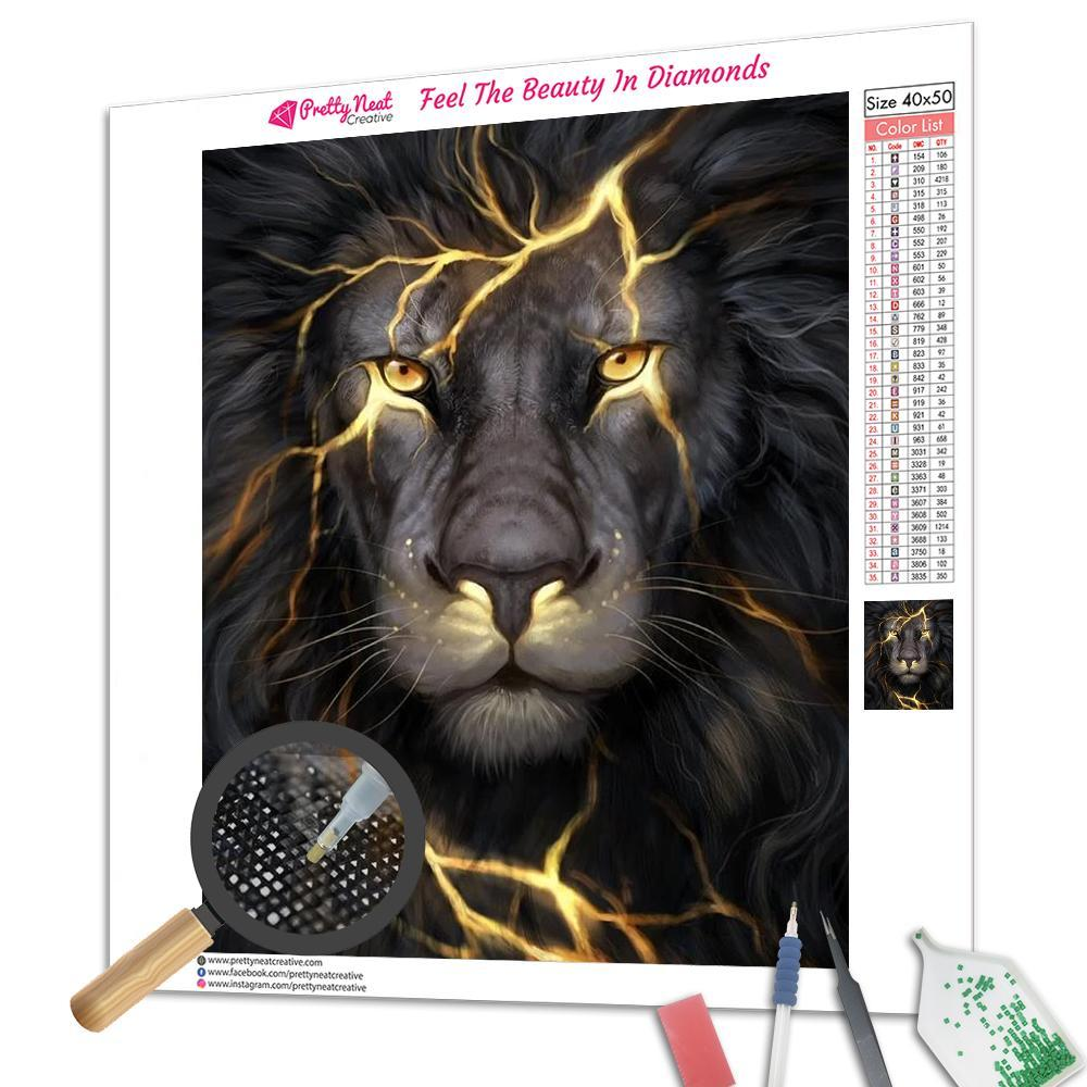 Lightning Lion Square Diamond Painting