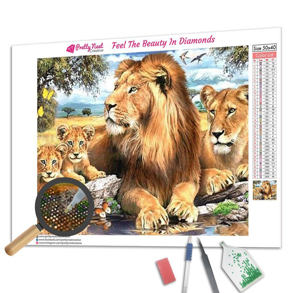 Lion Family 5D Square Diamond Painting