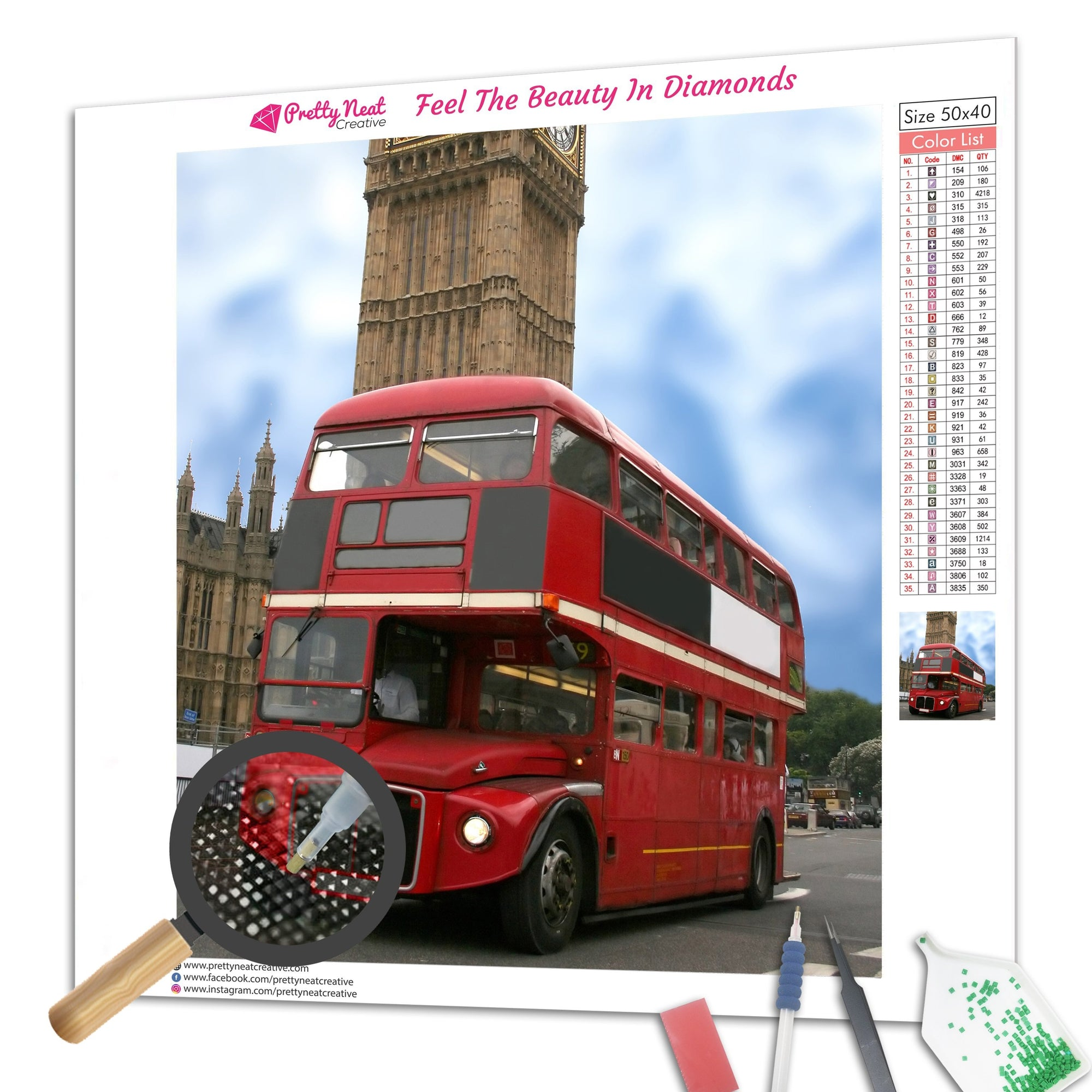 London Big Ben and Red Bus Diamond Painting