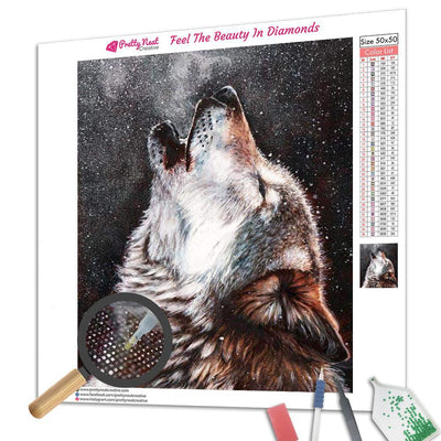 Lonely Wolf Howling In Snow Square Diamond Painting