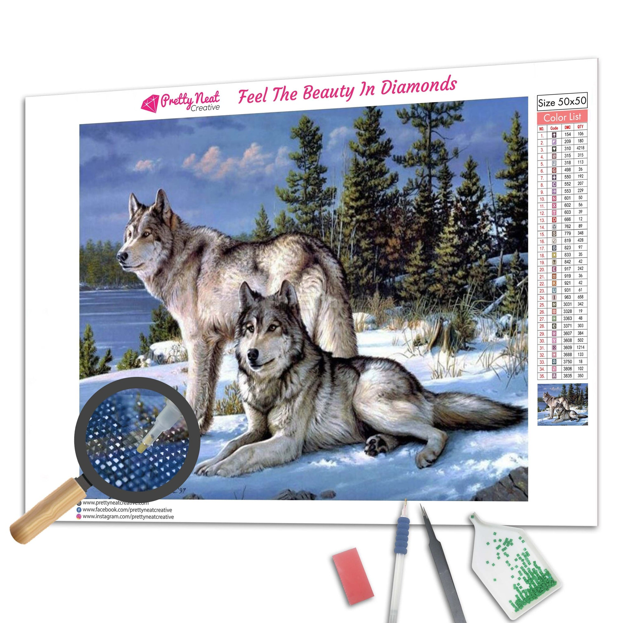 Majestic Wolf Couple 5D Diamond Painting