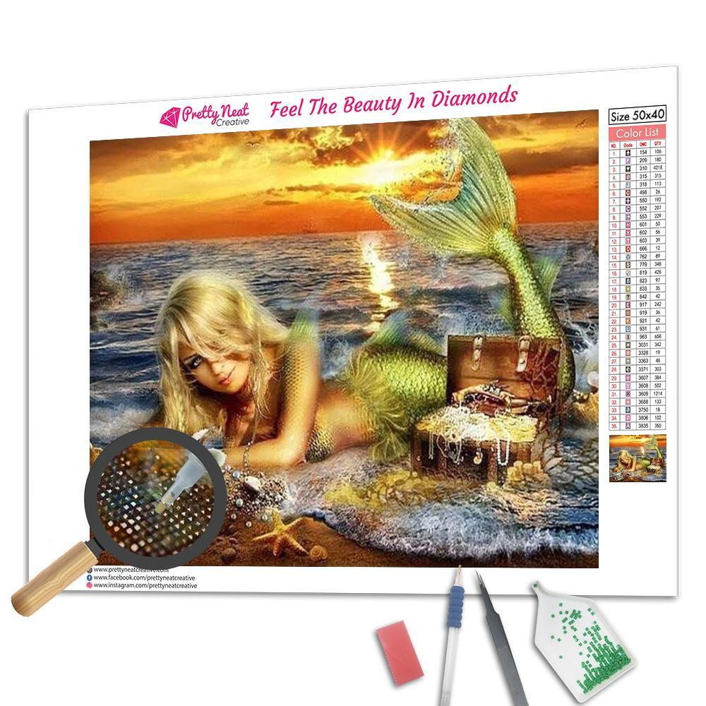 Mermaid On The Beach Square Diamond Painting