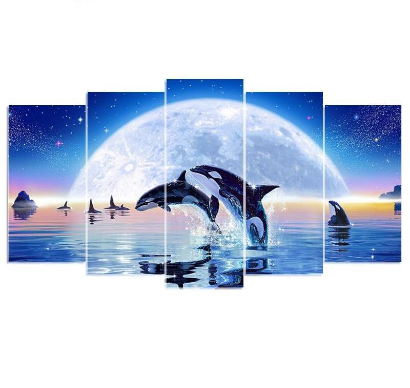 Moonlight Dolphin Square Multi-Diamond Painting