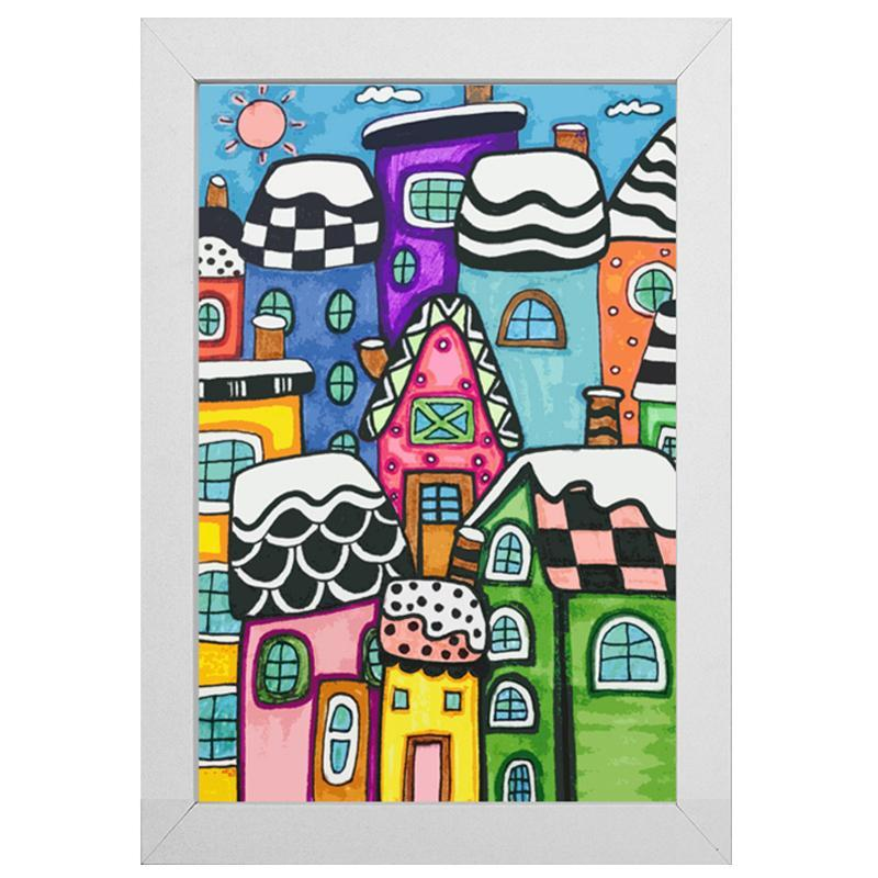 "My Dream Town Diamond Painting With Frame 8"" x 12"" (20cm x 30cm) / Special Shaped"