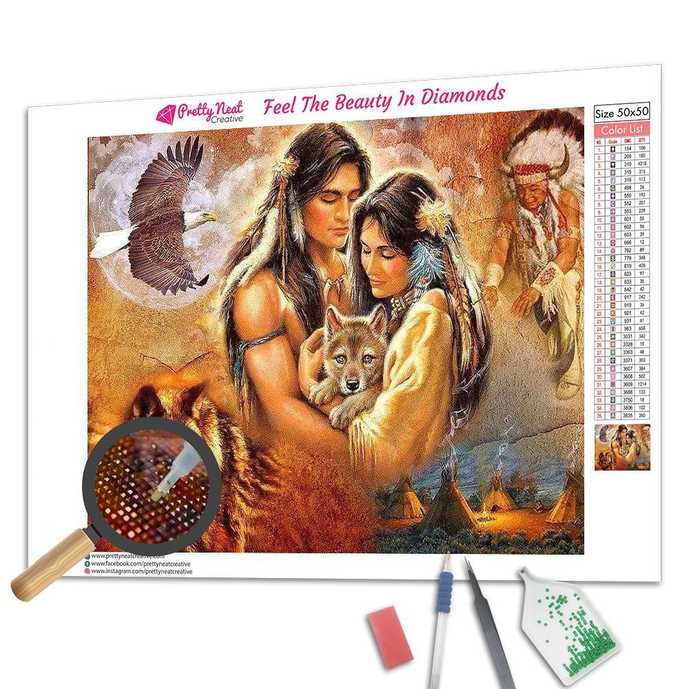 Native American with Wolf and Bald Eagle Square Diamond Painting