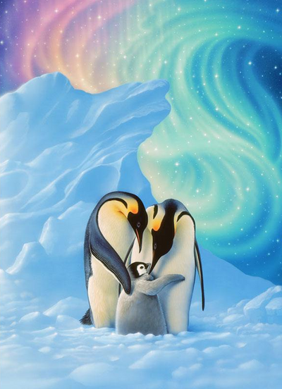Penguins Family Square Diamond Painting