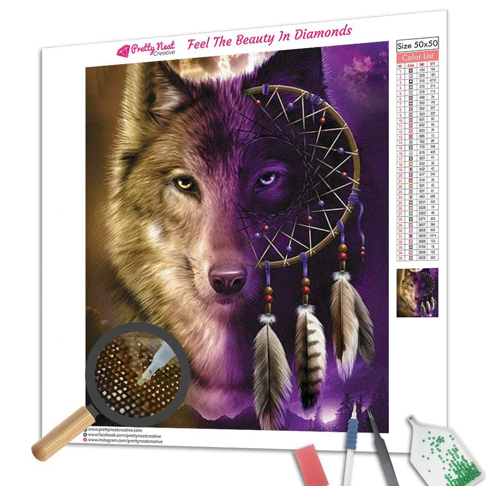 Purple Wolf Dreamcatcher Diamond Painting