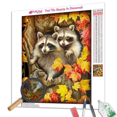 Raccoon Couple 01 Round Diamond Painting