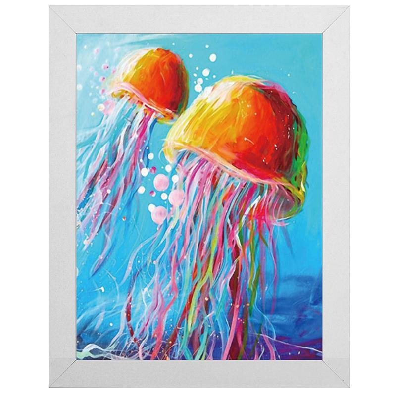 "Rainbow Jellyfish Diamond Painting With Frame 8"" x 12"" (20cm x 30cm) / Special Shaped"
