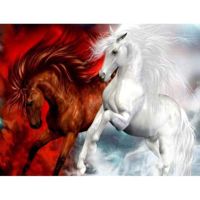 Red White Horse Square Diamond Painting