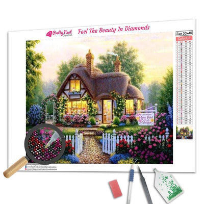 Rose Garden Cottage Diamond Painting