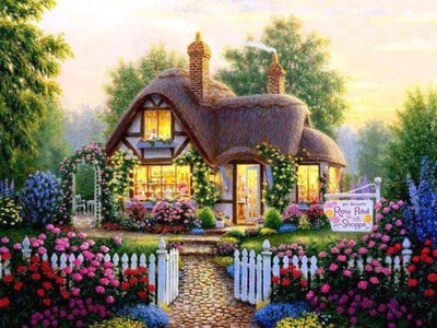 Rose Garden Cottage Square Diamond Painting