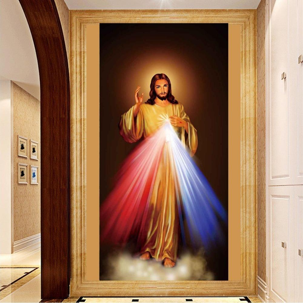 Round Rhinestones / Canvas Size 18x32inches Jesus 5D Round Diamond Painting