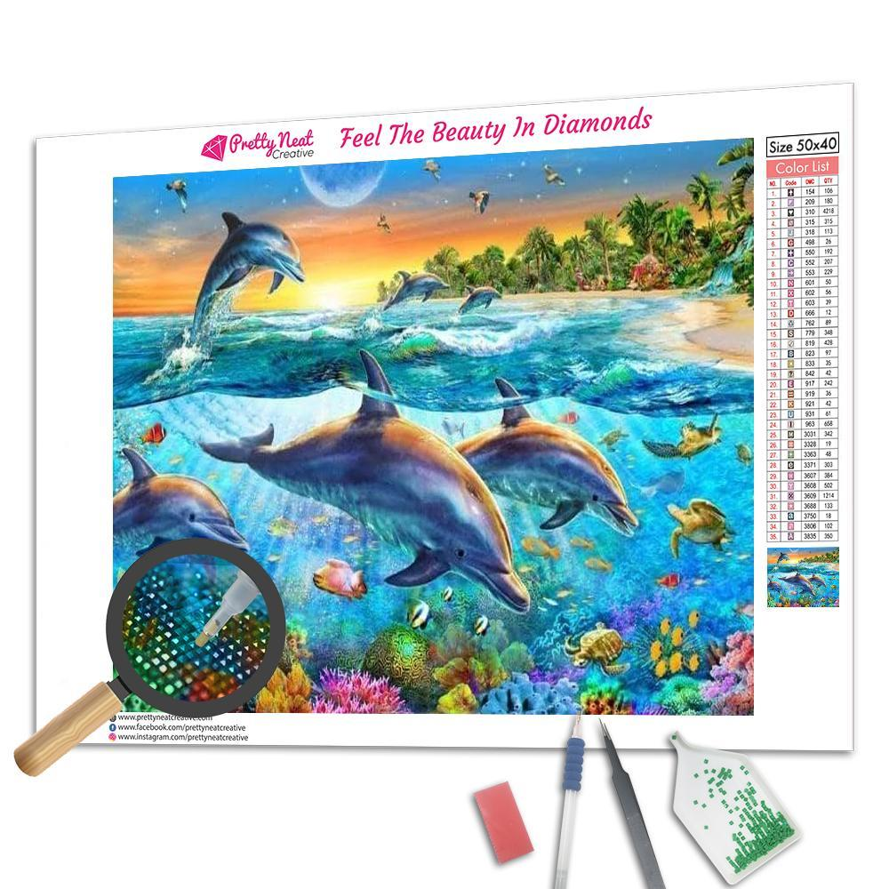 Sea World Dolphin Square Diamond Painting