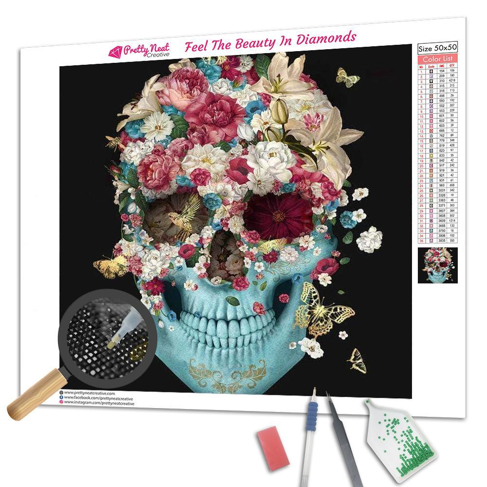 Skull Flowers Francisco Square Diamond Painting