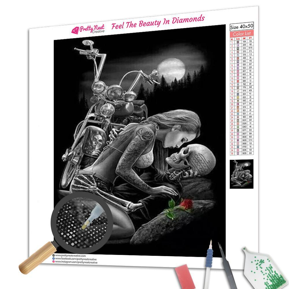 Skull lover & Motorcycle Square Diamond Painting