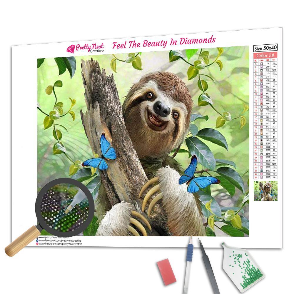 Smile Lovely Sloth Square Diamond Painting