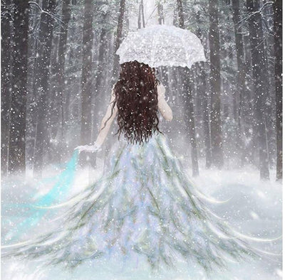 Snow Forest Girl Square Diamond Painting