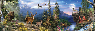 Square 30x90cm Forest Animals Diamond Painting