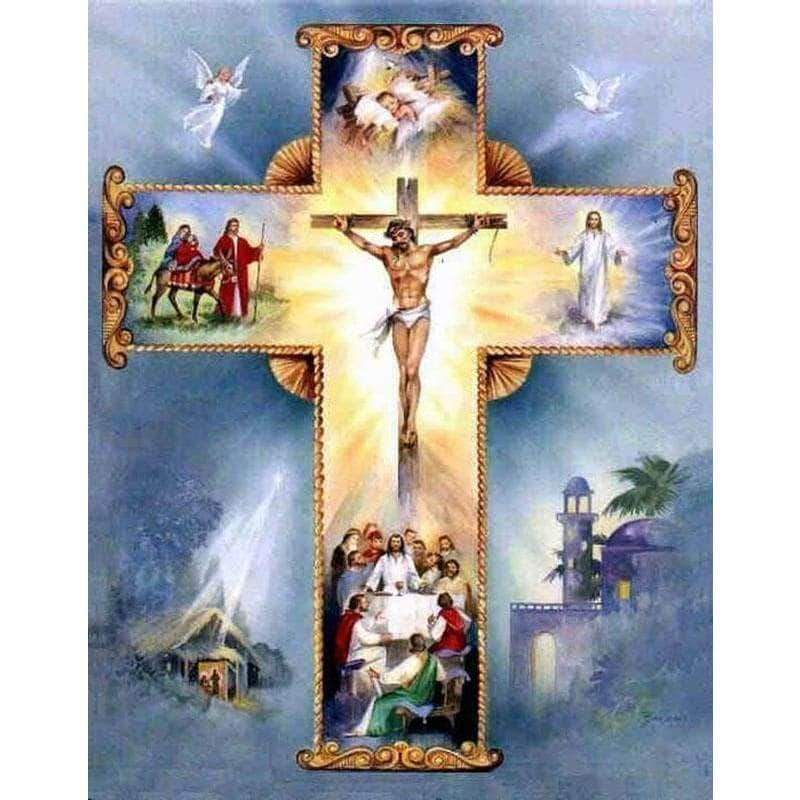Square Drill 20x30 Cm / 8x12 Inch Clearance - Jesus On The Cross Diamond Painting