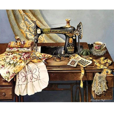 "Square Drill 8"" x 12"" (20cm x 30cm)ch Clearance - Sewing Machine 5D Diamond Painting"