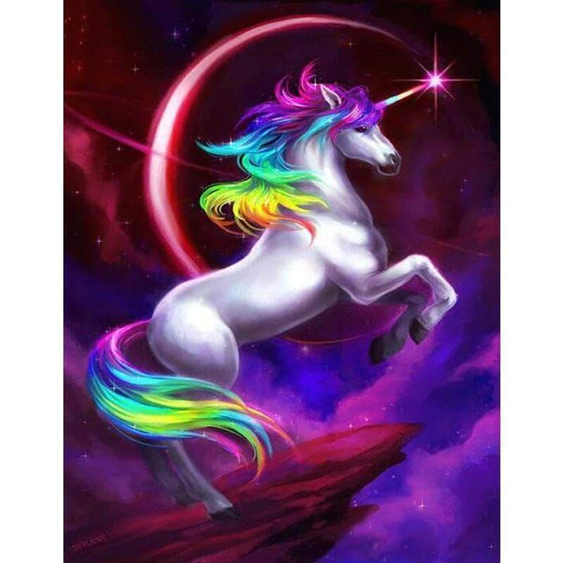 Square Drill 20x30 Cm / 8x12 Inch Clearance - Unicorn With Rainbow Mane 5D Diamond Painting